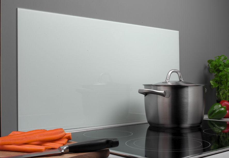 Spritzschutz Glas 40 x 80 cm weiß Glasrückwand Küche Herd Wand Ceran ...